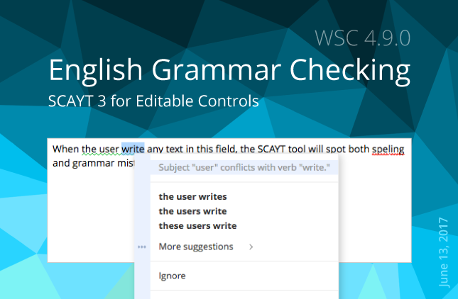 SCAYT 3 for Editable Controls with English Grammar Checking
